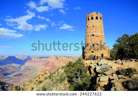 Desert View Watchtower in Grand Canyon South Rim, AZ, US - stock photo