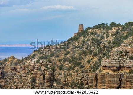Desert View Watchtower, south rim of Grand Canyon, Arizona, USA - stock photo