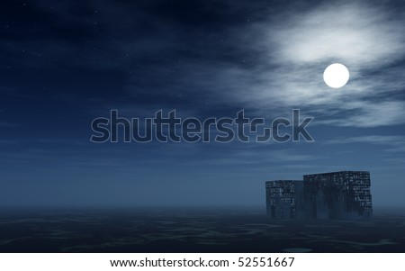 desert with destroyed buildings in the night - 3d illustration - stock photo