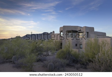 Desert xeriscape design new home mountain background, Arizona,USA - stock photo