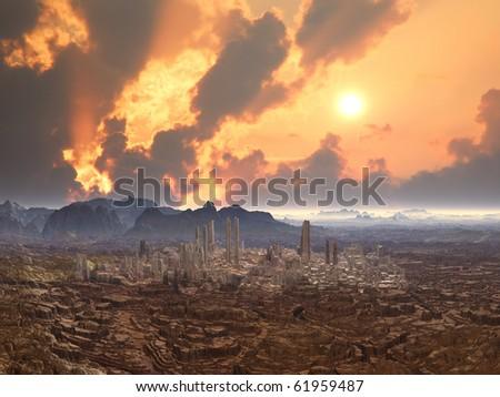 Deserted City on Alien Planet - stock photo