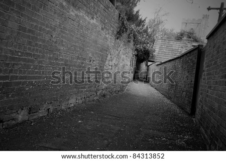 Deserted Dark Alley - stock photo