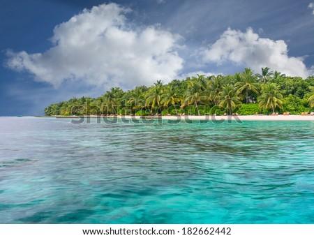 Deserted Maldives Island Resort - stock photo