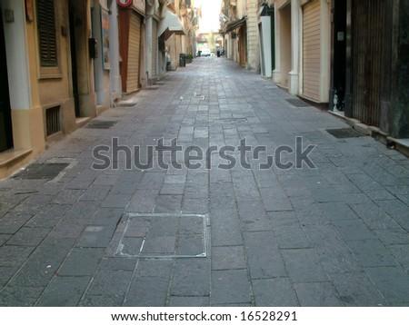 Deserted morning street - stock photo
