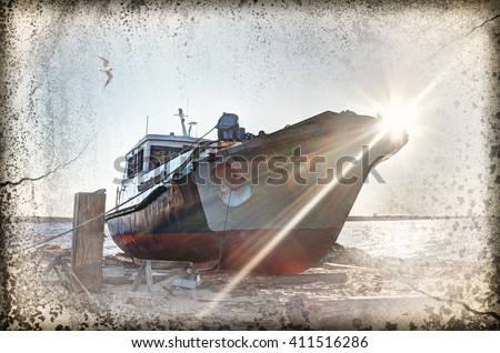 Deserted rusty ship.