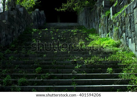 deserted staircase to the street - stock photo