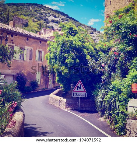 Deserted Street of the French City of Saint-Montan, Retro Effect - stock photo