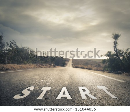deserted street with written starting - stock photo