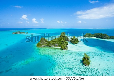 Deserted tropical islands and clear blue water from above, Palau, Micronesia