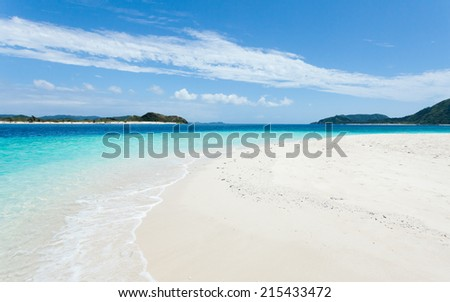 Deserted tropical paradise beach with clear blue lagoon water of a southern Japanese island, Zamami of Kerama Islands National Park, Okinawa - stock photo