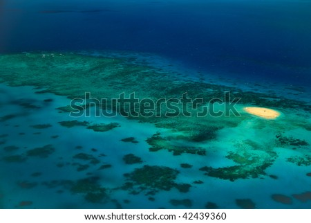 Deserted Upolu Cay at Arlington Reef in Great Barrier Reef Marine park - stock photo