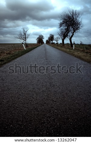 Deserted wet road leading into horizon under stormy sky.