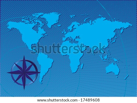 Design abstract of a compass on the world - stock photo