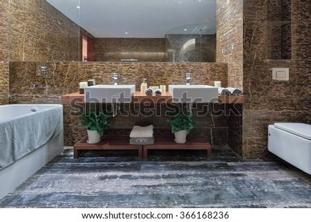 design and decoration in luxury bathroom - stock photo