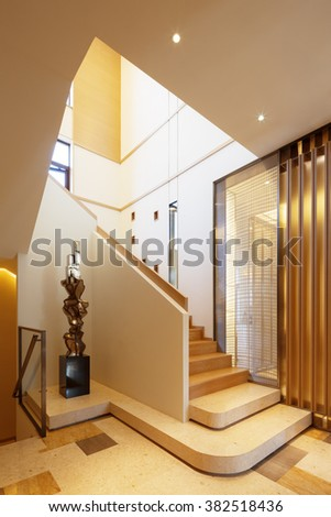 design and decoration in modern wood staircase