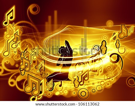 Design composed of girl silhouette, notes, lights and abstract design elements as a metaphor on the subject of music, song, performance and dance