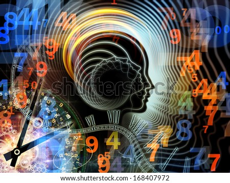 Design composed of human feature lines and symbolic elements as a metaphor on the subject of human mind, consciousness, imagination, science and creativity - stock photo