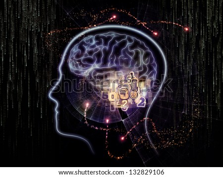 Design composed of lines of human head, fractal grids and technology related symbols as a metaphor on the subject of artificial intelligence, science, education and technology