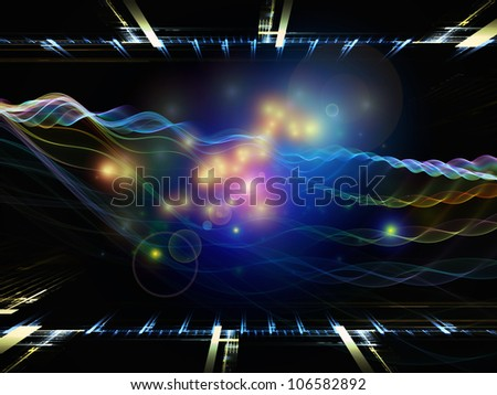 Design composed of perspective fractal grids, lights, mathematical wave and sine patterns as a metaphor on the subject of modern technologies, signal processing, music and entertainment
