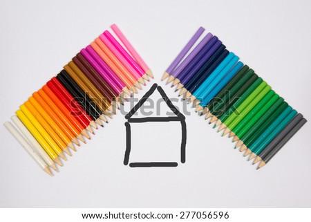 Design Concept for real estate - color Pencils - stock photo