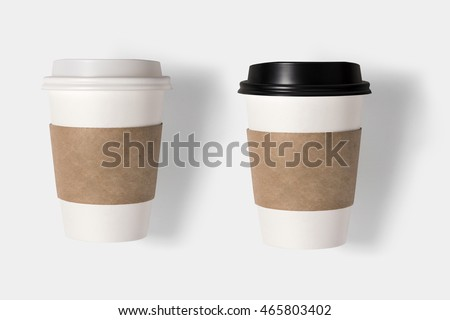 Design concept of mockup coffee cup set  isolated on white background. Copyspace for text and logo. Clipping Path included on white background.