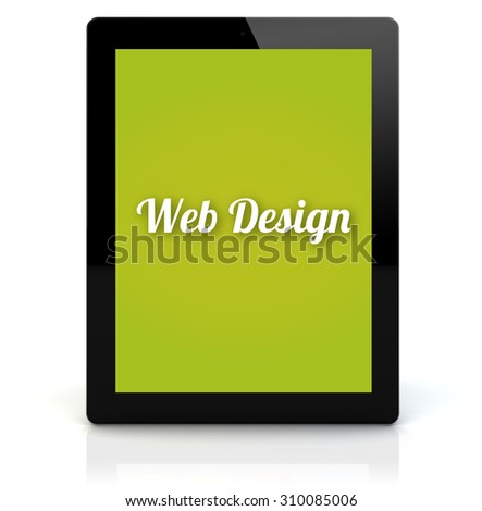 design concept: render of a tablet pc with web design on the screen. Screen graphics are made up.