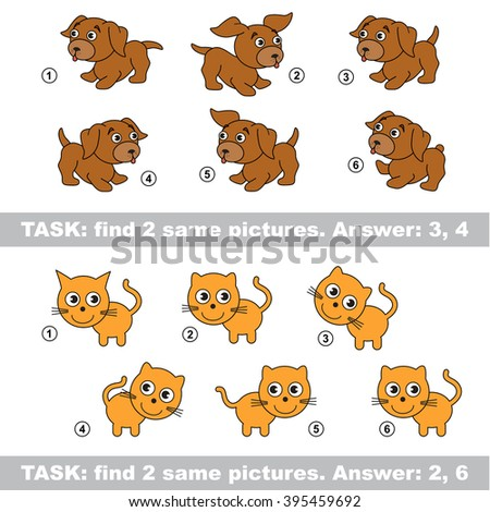 Design different, color equal.  Visual game. Task and answer. Find two similar dog and cat. Raster copy. - stock photo