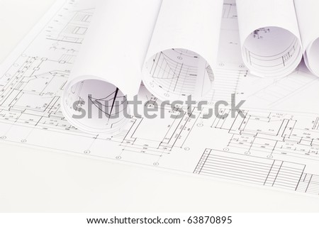 design draft papers - stock photo