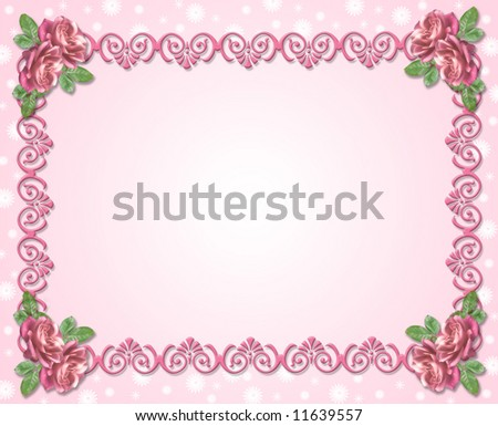 Design element for Valentine or wedding background, stationery, border or frame with duo tone Pink Roses and copy space. - stock photo