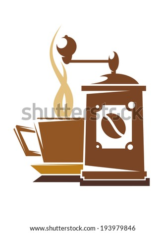 Design element of a steaming cup of fresh full roast coffee alongside an old retro mechanical coffee grinder in shades of brown isolated on white. Vector version also available in gallery - stock photo