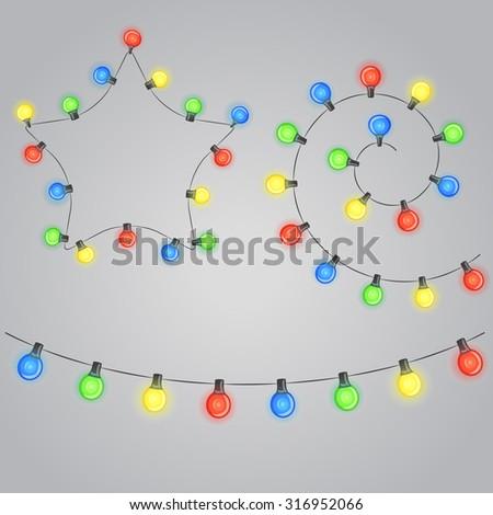 Design elements. Christmas garland with shiny lightbulbs. Raster version - stock photo