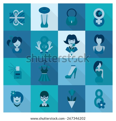 Design Elements for International Womens Day March 8, Icons.  - stock photo