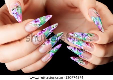 Design female nails. - stock photo