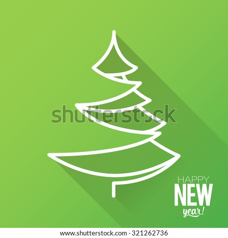Design Illustration Concepts Christmas Tree with Stylish Typographic. Vector Illustration. Concepts Web Banner and Printed Materials. Trendy and Beautiful. Flat Elements - stock photo