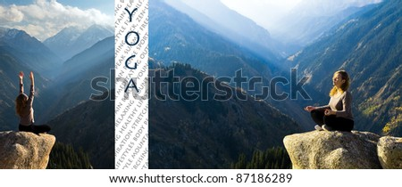 Design image of Yoga at summit with aerial view of the mountain range and peak, with sunlight - stock photo