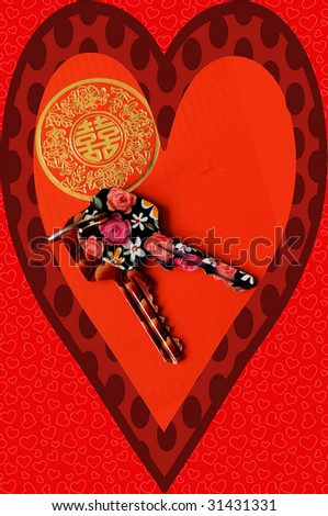 design in prosperous reds containing symbols of romance and luck and the most wonderful set of keys in the world