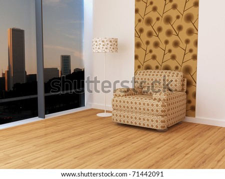 Design interior of elegance modern living room, brown sofa with lamp, a place to relax, 3d rendering - stock photo