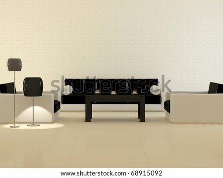 Design interior of elegance modern living room, classic white and black armchairs with flour lamps and coffee table, rendering - stock photo