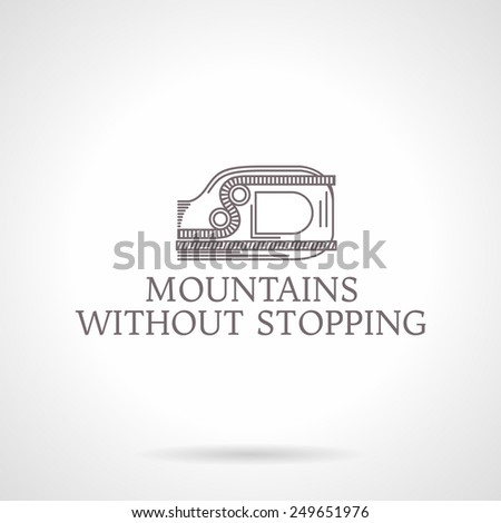 Design logotype with gray vintage line style ascender device for climbing. Abstract illustration for rock climbing with words Love For The Mountains for some business or website. Logo - stock photo