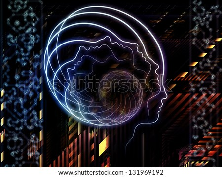 Design made of lines of human head, fractal grids and technology related symbols to serve as backdrop for projects related to artificial intelligence, science, education and technology