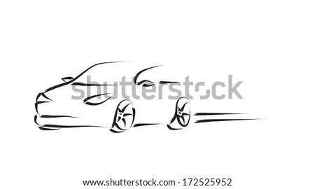 Design of a sports convertible car on white background. Raster - stock photo