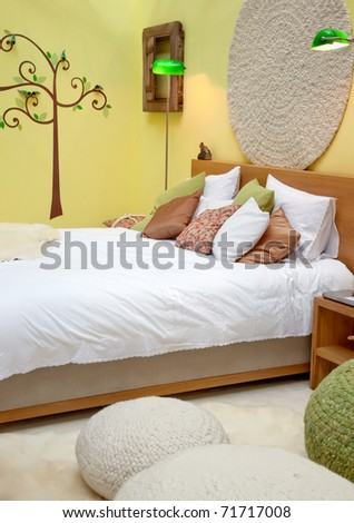 design of bed room in spring theme - stock photo