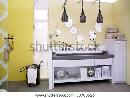 design of county style bathroom - stock photo