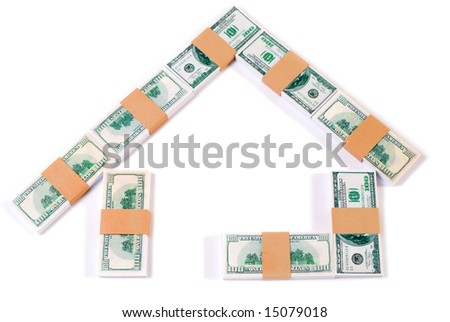 Design of house with paper money