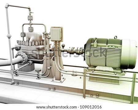 Design of industrial engine and power generator with wireframe on top - stock photo