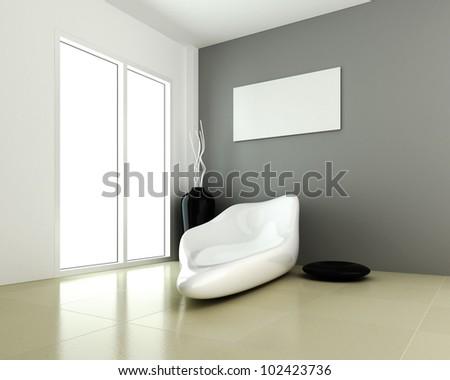 Design of interior modern room 3d rendering - stock photo