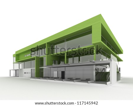 design of modern office building. Environmentally friendly, green architecture - stock photo