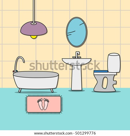 Design of room - bathroom with toilet, bathtub, sink and mirror.