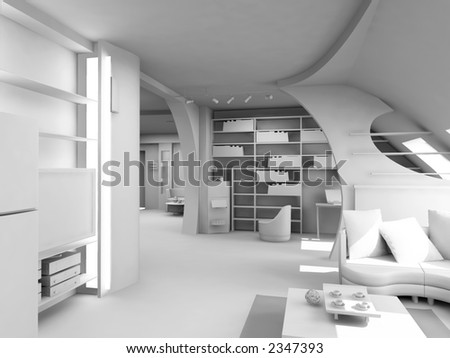 design of the modern blank interior (3D)