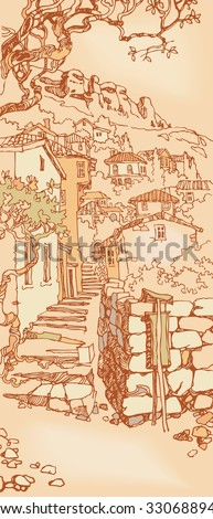 Design of the old city. Sketch, hand drawn with ink. Cityscape with stairs. Engraved retro style, effect of sepia.